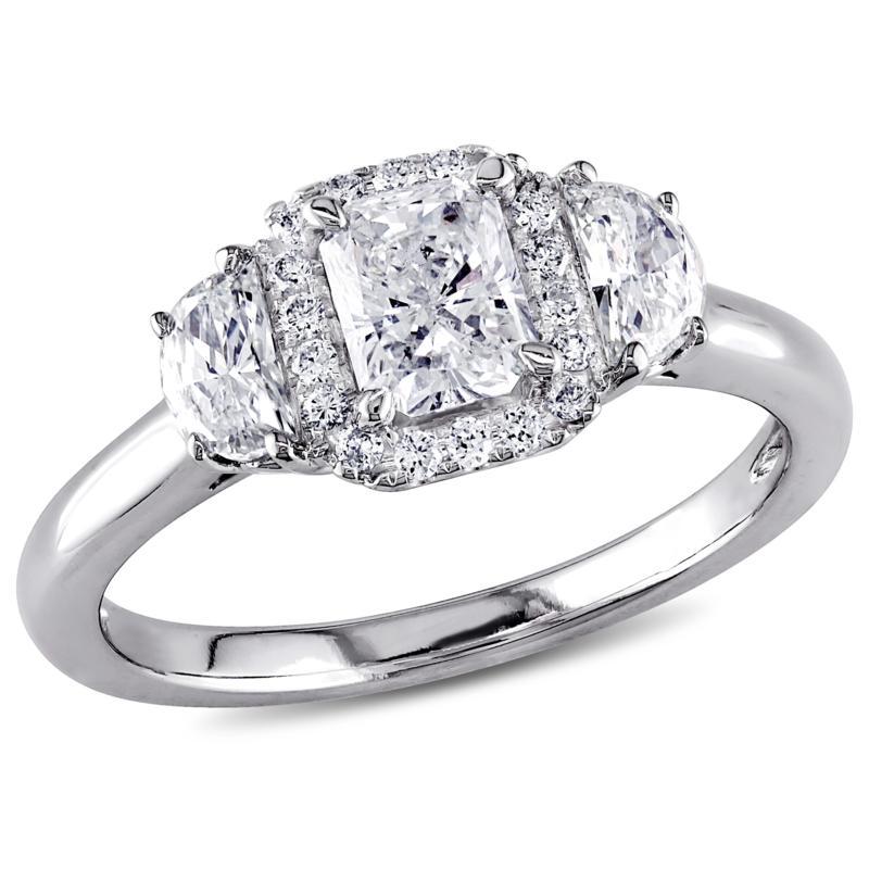 14K White Gold 1.04ctw Diamond 3-Stone Halo Engagement Ring