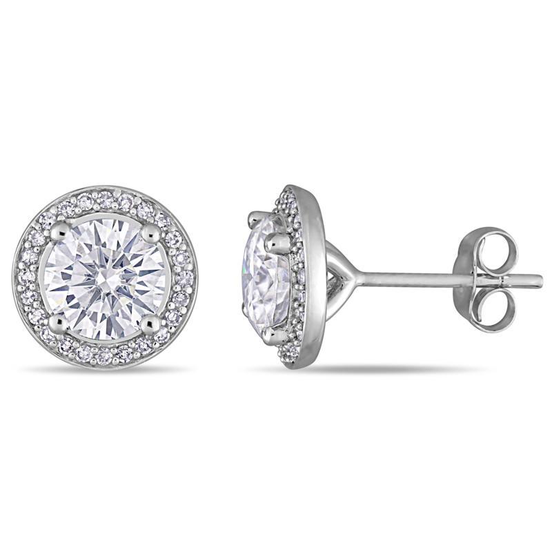 14K White Gold 2.5ctw Moissanite and 0.20ctw Diamond Frame Earrings
