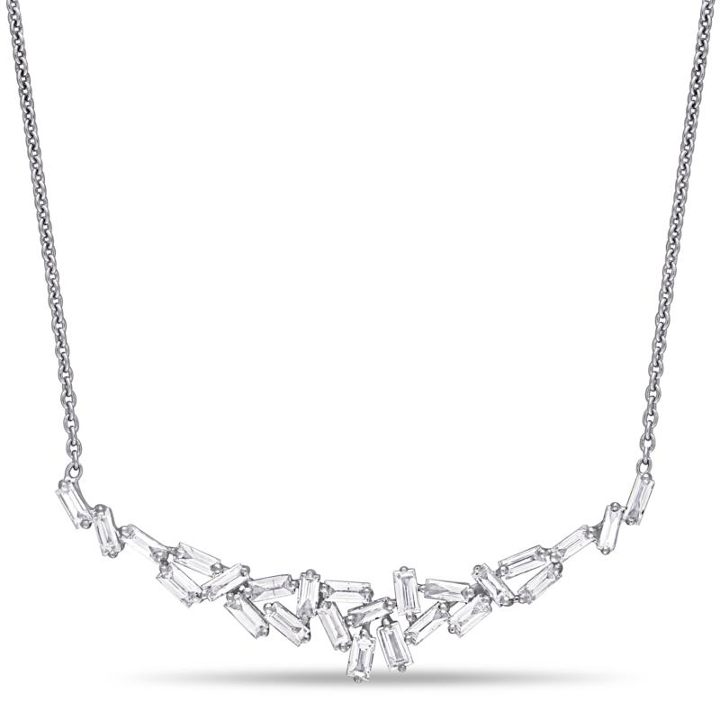 14K White Gold .69ctw Diamond Cluster Necklace