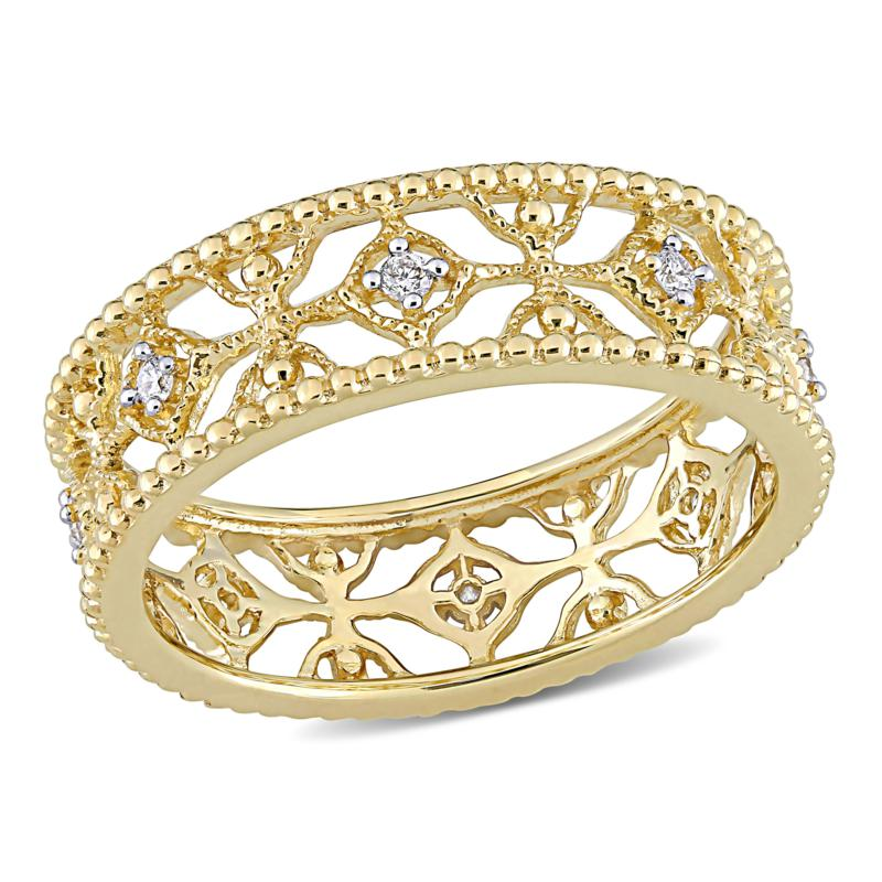14K Yellow Gold 0.10ctw Diamond Openwork Lace Band Ring