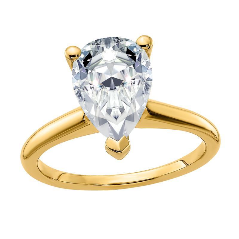 14K Yellow Gold 3.57ct Moissanite Pear-Cut Solitaire Ring