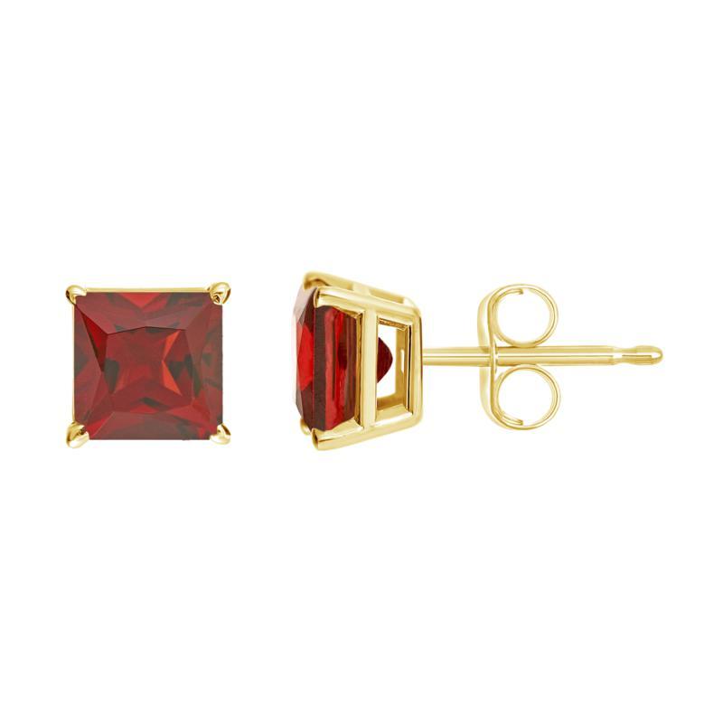 14K Yellow Gold 5mm Princess-Cut Cut Gemstone Stud Earrings