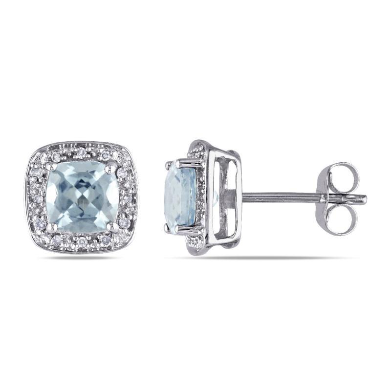 1.79ctw Cushion-Cut Aquamarine and Diamond 10K Earrings