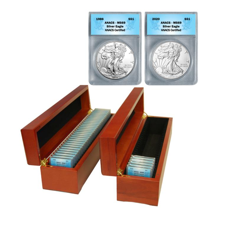 1986-2020 Set of 35 MS69 ANACS 99.93% Silver Eagle Dollar Coins
