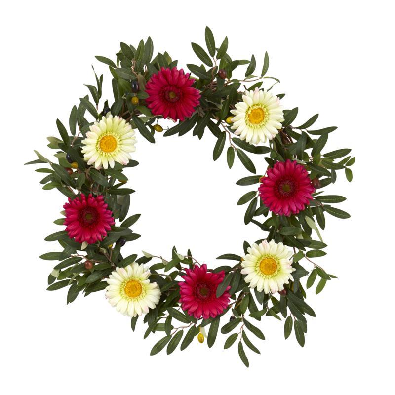 "20"" Olive & Gerber Daisy Artificial Wreath"