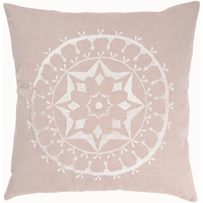 """20"""" x 20"""" Embroidered Cotton Pillow - Flax/Off-White"""