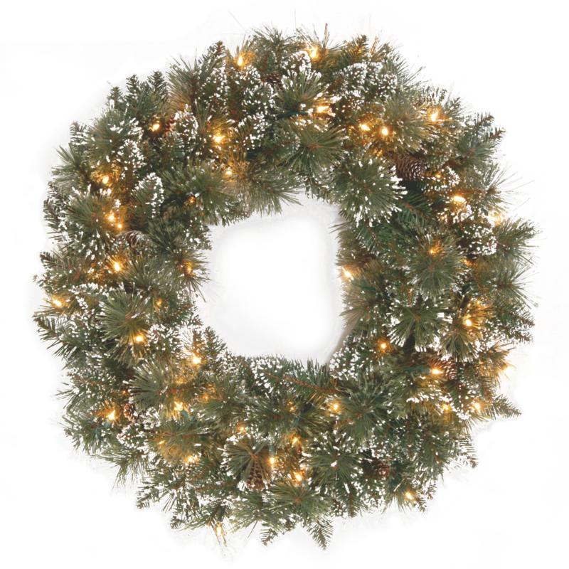 "24"" Glittery Bristle Pine Wreath w/Lights"