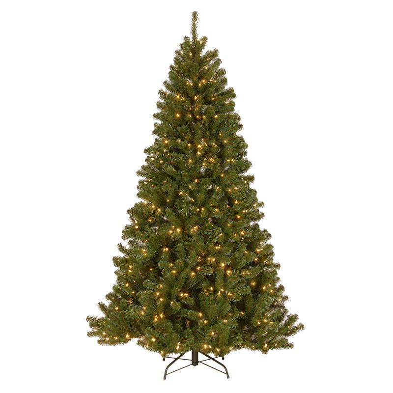 7-1/2' N.Valley Spruce Hinged Tree w/Lights