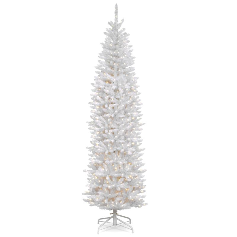 7.5' Kingswood® White Fir Pencil Tree with Clear Lights