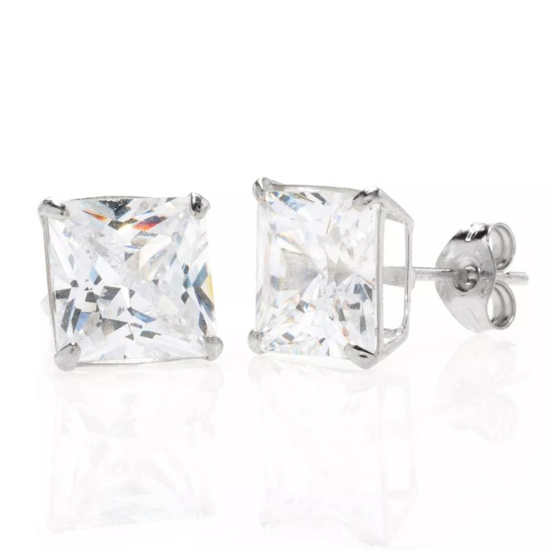 A&M 14K White Gold 4mm Square Cubic Zirconia Stud Earrings