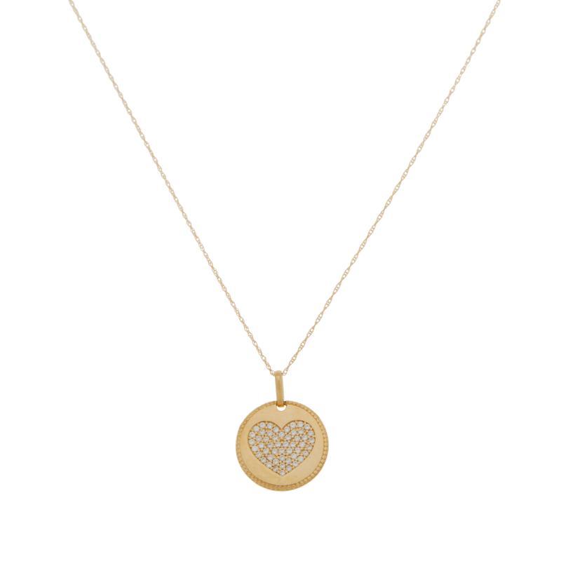 Absolute™ 10K Gold CZ Round Pavé Heart Pendant