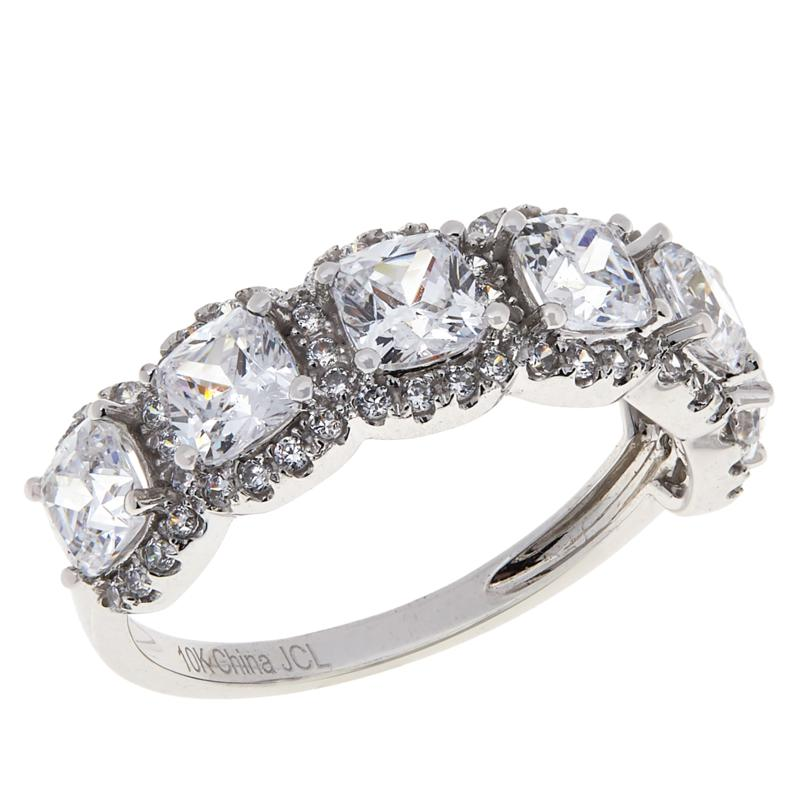 Absolute™ 10K White Gold Cubic Zirconia 6-Stone Cushion-Cut Halo Ring
