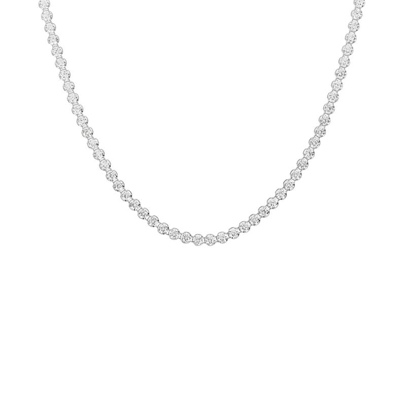 """Absolute™ 18"""" Sterling Silver CZ Round Stone Tennis Necklace"""