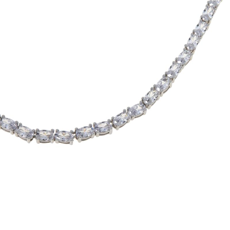 """Absolute™ 20"""" Sterling Silver CZ Single Row Oval Stone Tennis Necklace"""