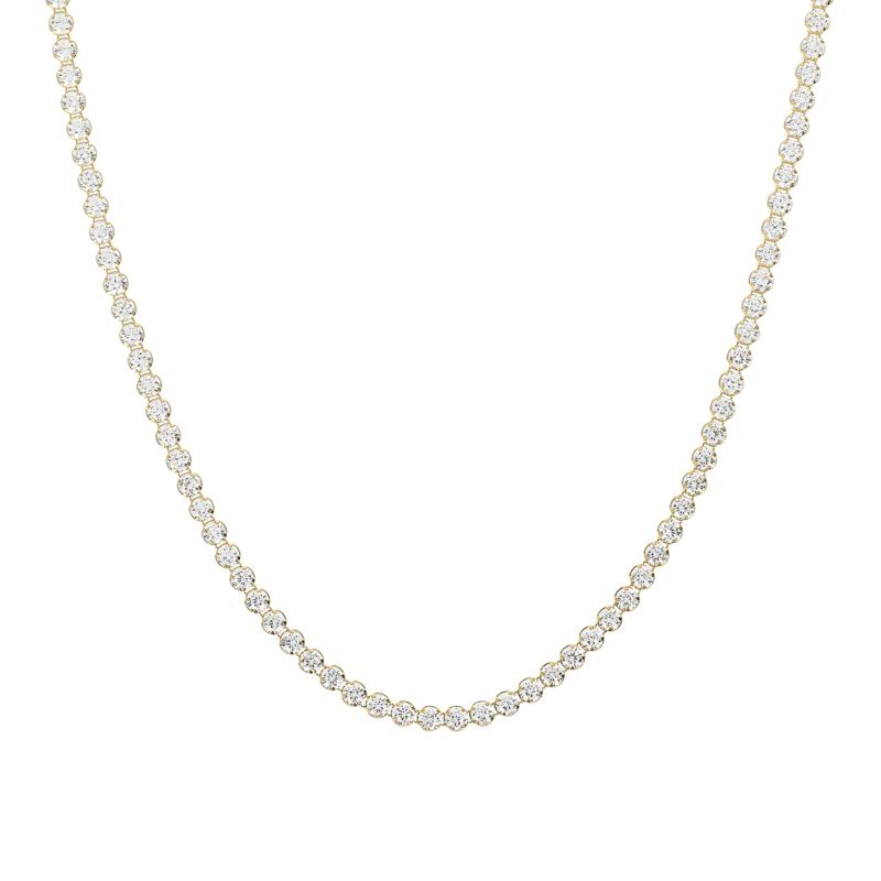 """Absolute™ 30"""" Sterling Silver CZ Round Stone Tennis Necklace"""