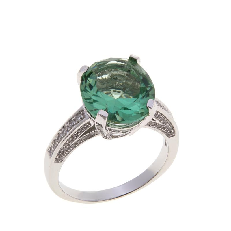Absolute™ Cubic Zirconia and Simulated Prasiolite Pavé Gallery Ring