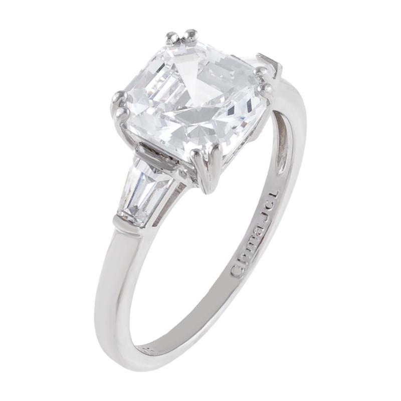 Absolute™ Cubic Zirconia Asscher-Cut 3-Stone Engagement Ring