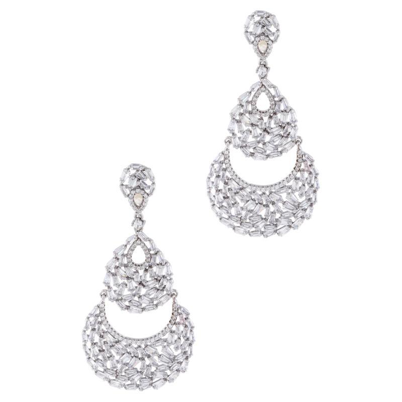 Absolute™ Cubic Zirconia Baguette Cluster Chandelier Earrings