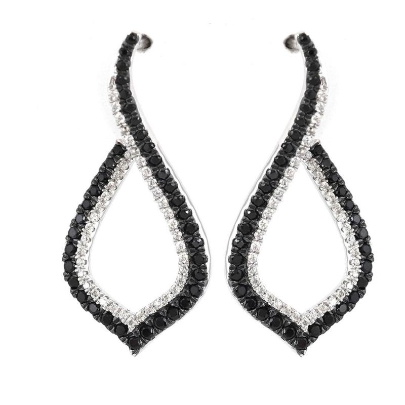 Absolute™ Cubic Zirconia Black and Clear Kite-Shaped Hoop Earrings