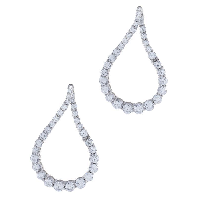 Absolute™  Cubic Zirconia Pear-Shaped Twist Hoop Earrings