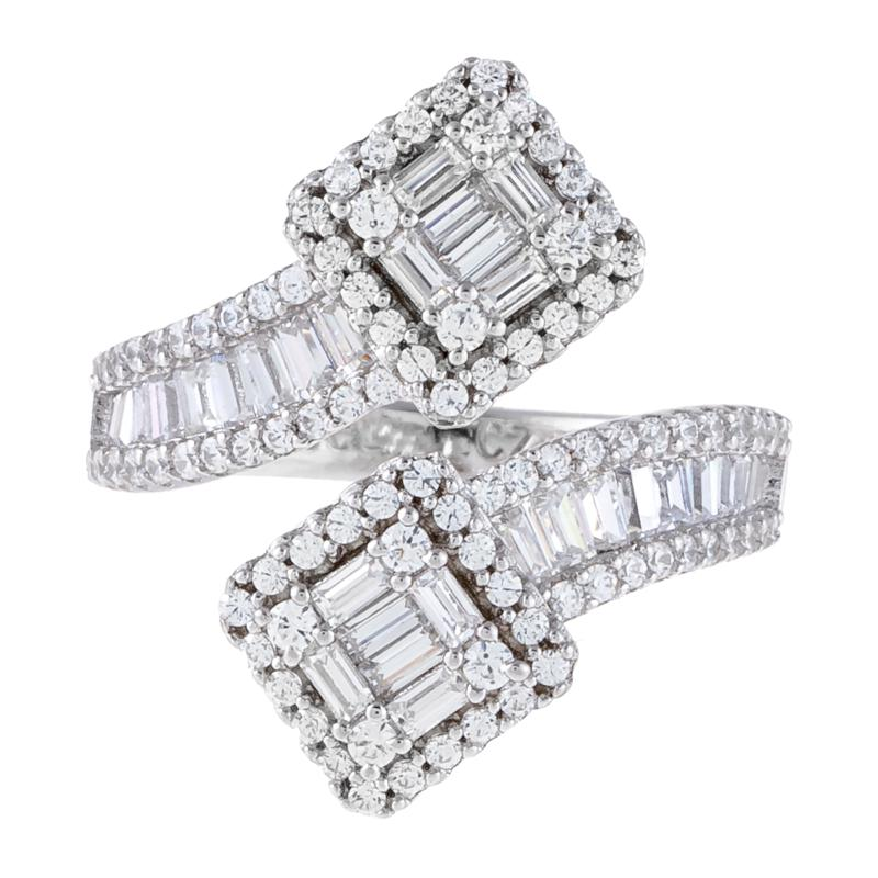 Absolute™ Cubic Zirconia Round and Baguette Bypass Ring