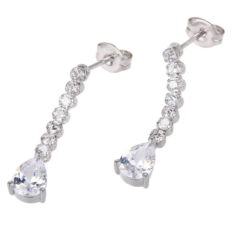 Absolute™ Cubic Zirconia Round and Pear Dangle Earrings - Large