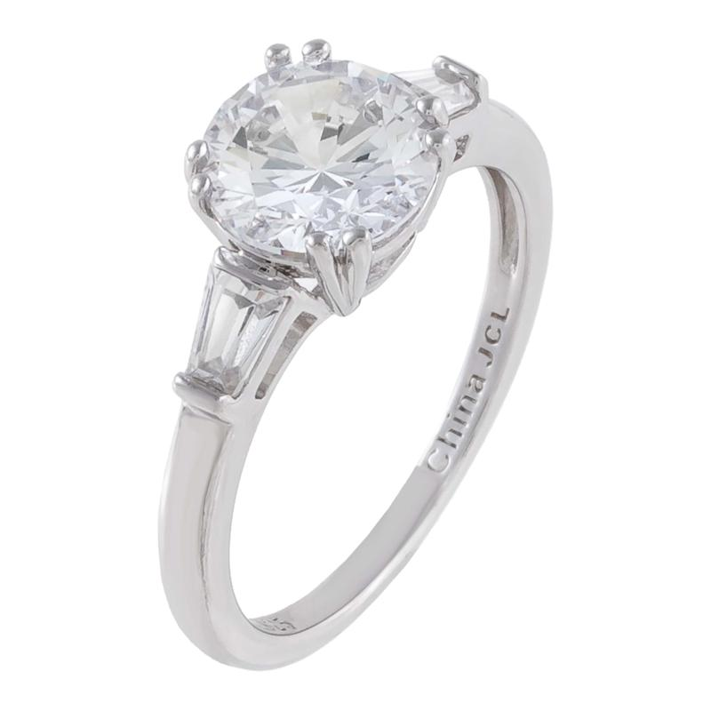 Absolute™ Cubic Zirconia Round-Cut 3-Stone Engagement Ring