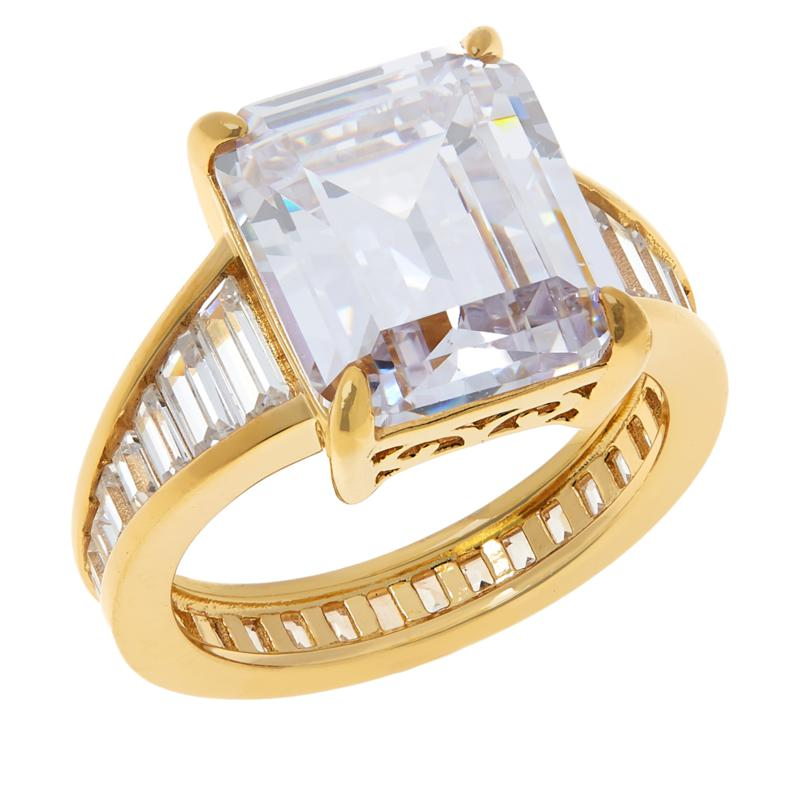 """Absolute™ """"Hall of Mirrors"""" Gold-Plated Emerald-Cut & Baguette Ring"""