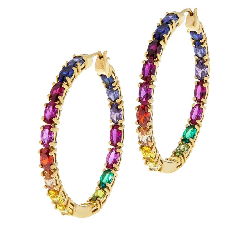 Absolute™ Simulated Colors of Sapphire Rainbow Hoop Earrings - Large