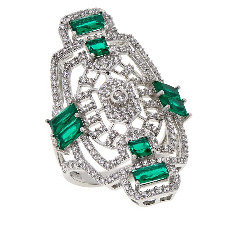 Absolute™ Simulated Emerald and Clear CZ Vintage-Inspired Ring