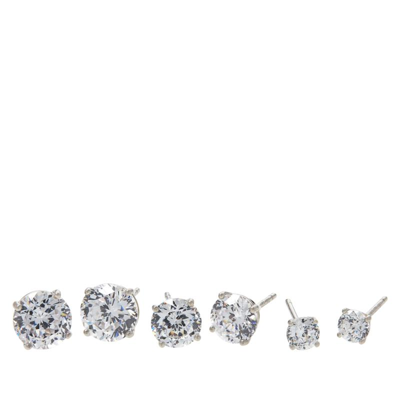 Absolute™ Sterling Silver 100-Facet Round 3-piece Stud Earrings Set