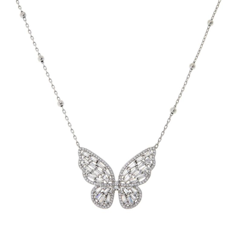 Absolute™ Sterling Silver Baguette Butterfly Drop Necklace