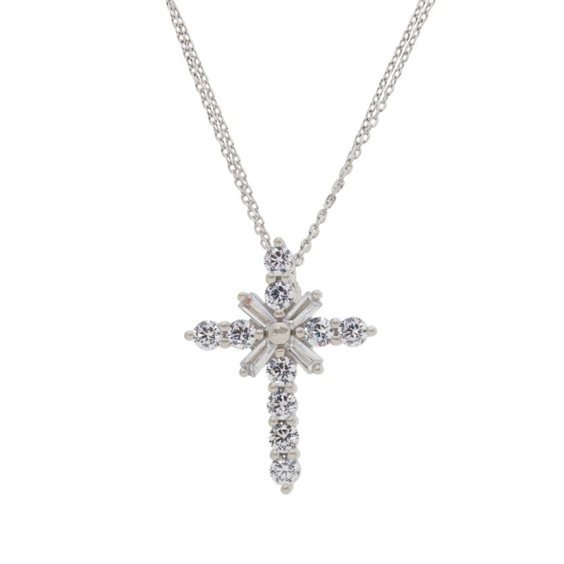 Absolute™ Sterling Silver Baguette Cross Pendant with Double Chain