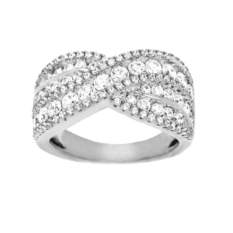 Absolute™ Sterling Silver Cubic Zirconia Crisscross Style Ring