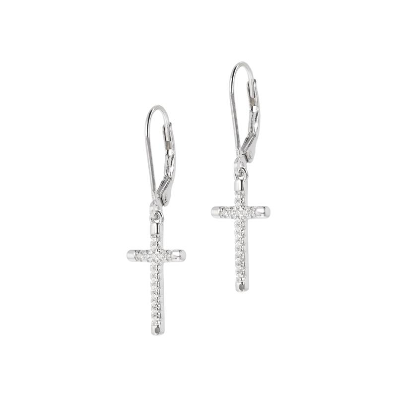 Absolute™ Sterling Silver Cubic Zirconia Cross Dangle Earrings