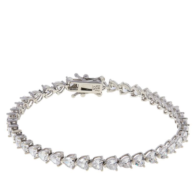 Absolute™ Sterling Silver Cubic Zirconia Heart-Cut Tennis Bracelet