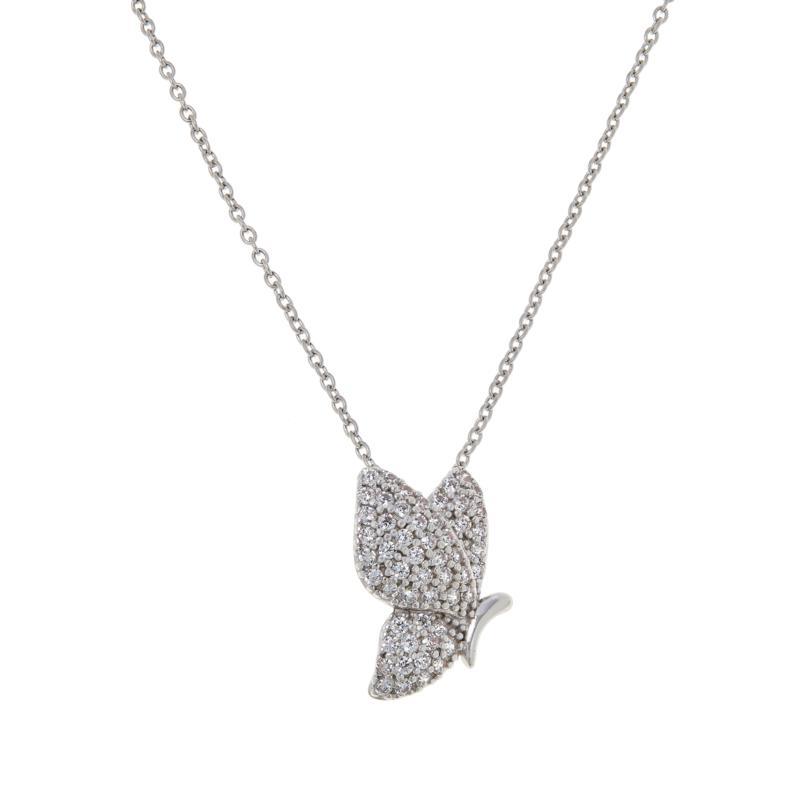Absolute™ Sterling Silver Cubic Zirconia Pavé Butterfly Pendant