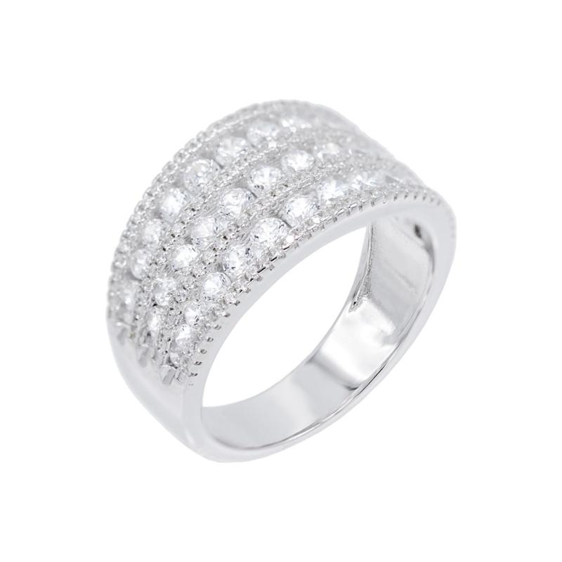 Absolute™ Sterling Silver Cubic Zirconia Three-Row Pavé Ring