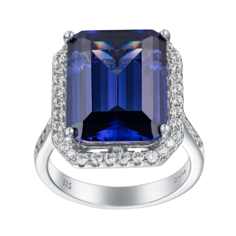 Absolute™ Sterling Silver Simulated Tanzanite and CZ Cocktail Ring