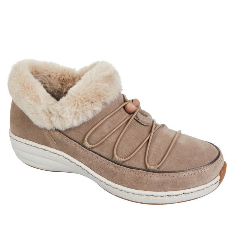 Aetrex® Chrissy Waterproof Suede Slip-On Shoe with Faux Fur Trim