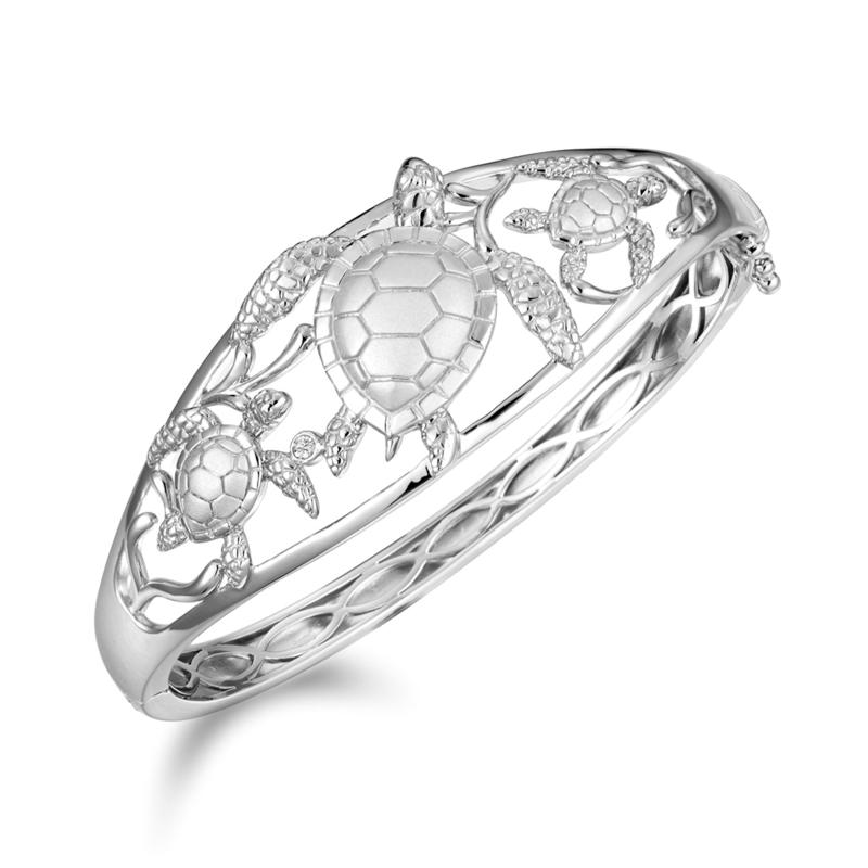 Alamea Sterling Silver Cubic Zirconia Turtle Bangle