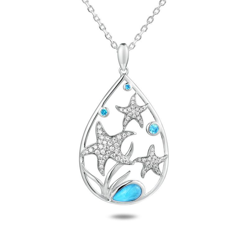Alamea Sterling Silver Larimar and Blue Topaz Starfish Pendant w/Chain