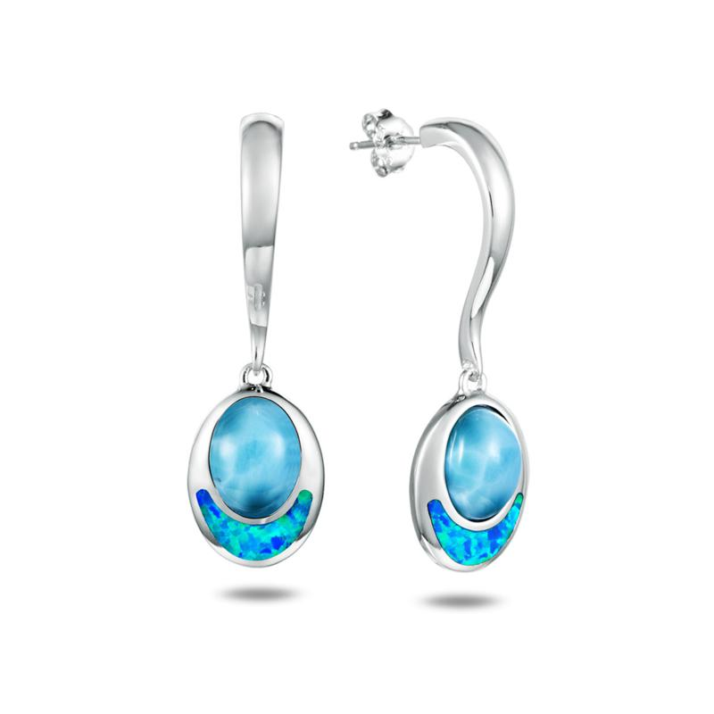 Alamea Sterling Silver Larimar and Synthetic Opal Oval Earrings