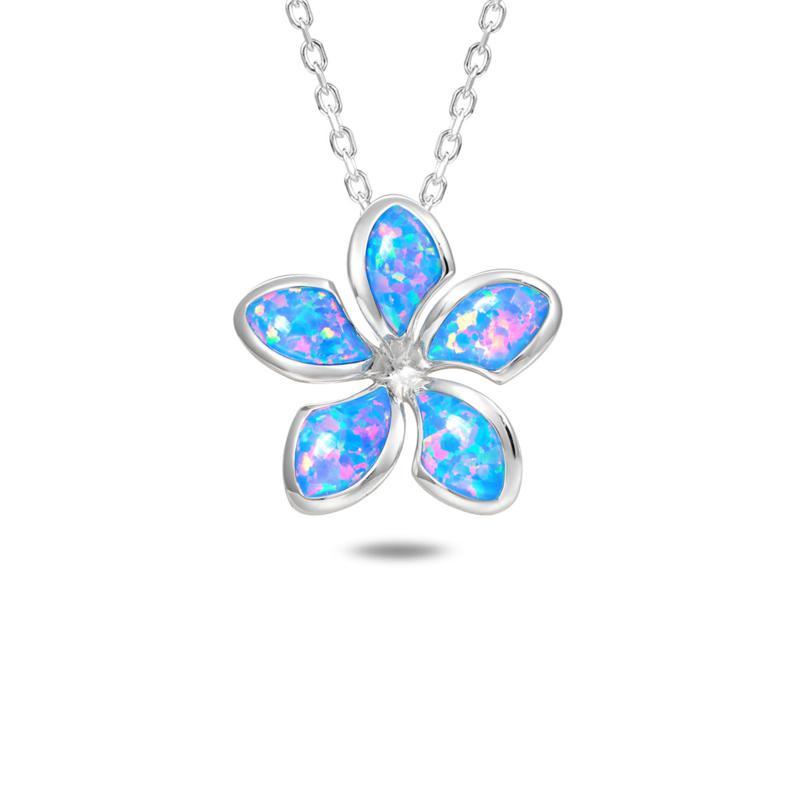 Alamea Sterling Silver Synthetic Blue Opal Plumeria Flower Pendant