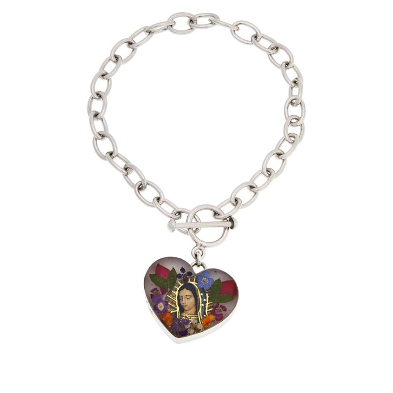 Amena K® Silver Designs Virgin Mary Flower Charm Bracelet