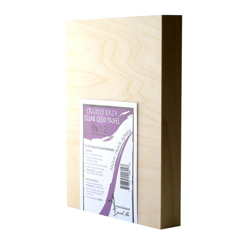 """American Easel 9"""" x 12"""" Clear Gesso Primed Wood Painting Panel"""