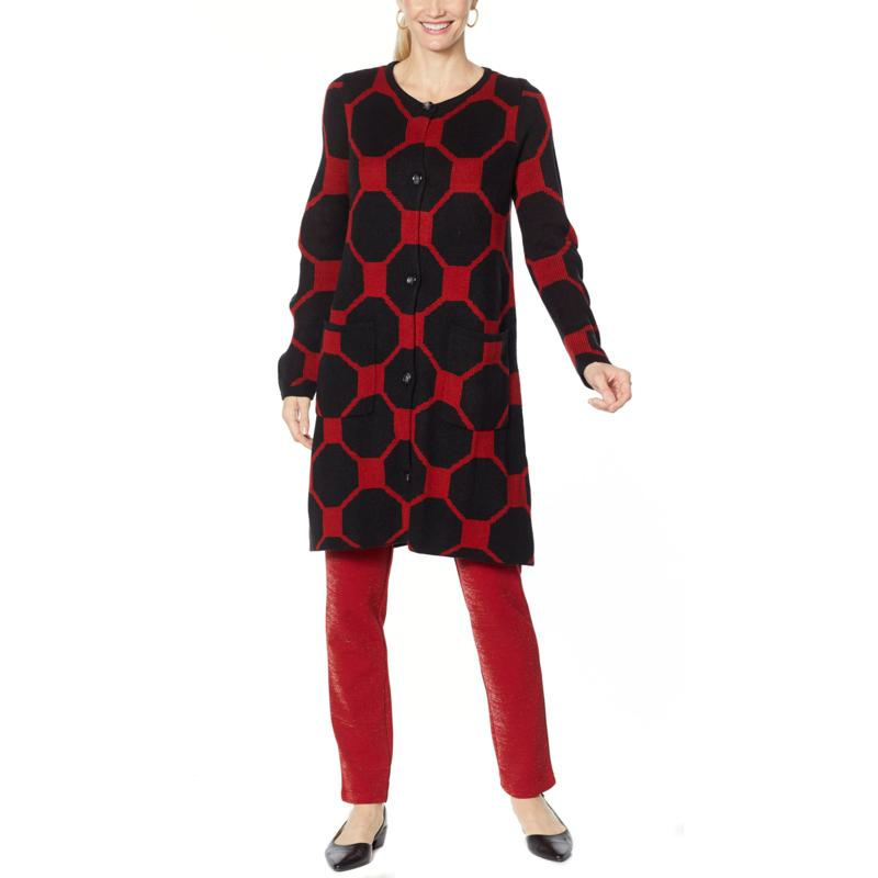 Antthony Crystal Couture Octagonal Jacquard Sweater Coat
