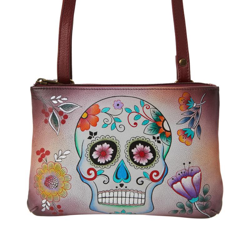 Anuschka Hand-Painted Leather Twin-Zip Crossbody Bag