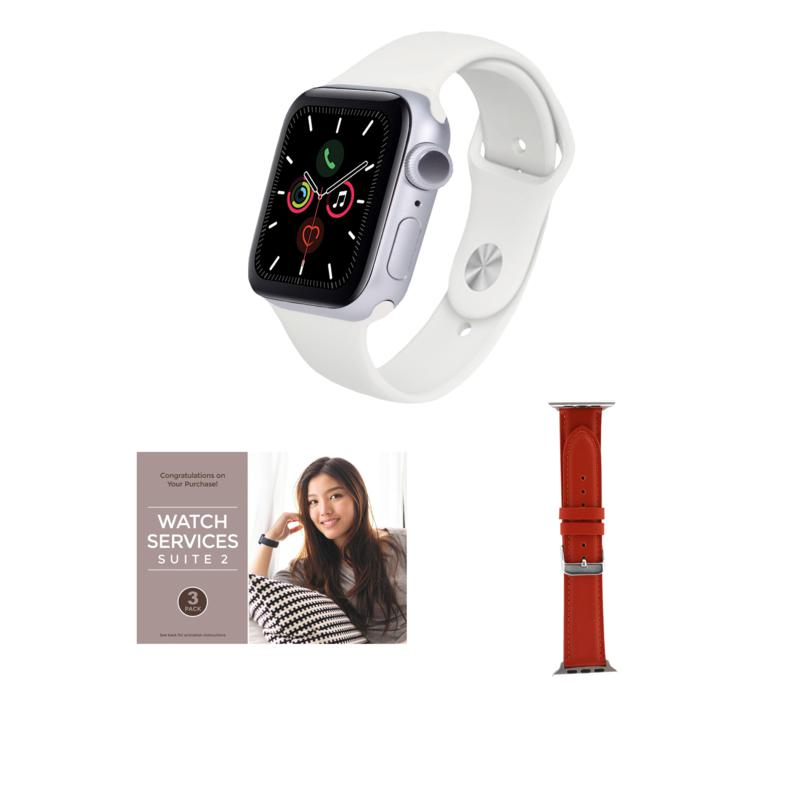 Apple Watch Series 6 40mm Silver with GPS and Leather Band