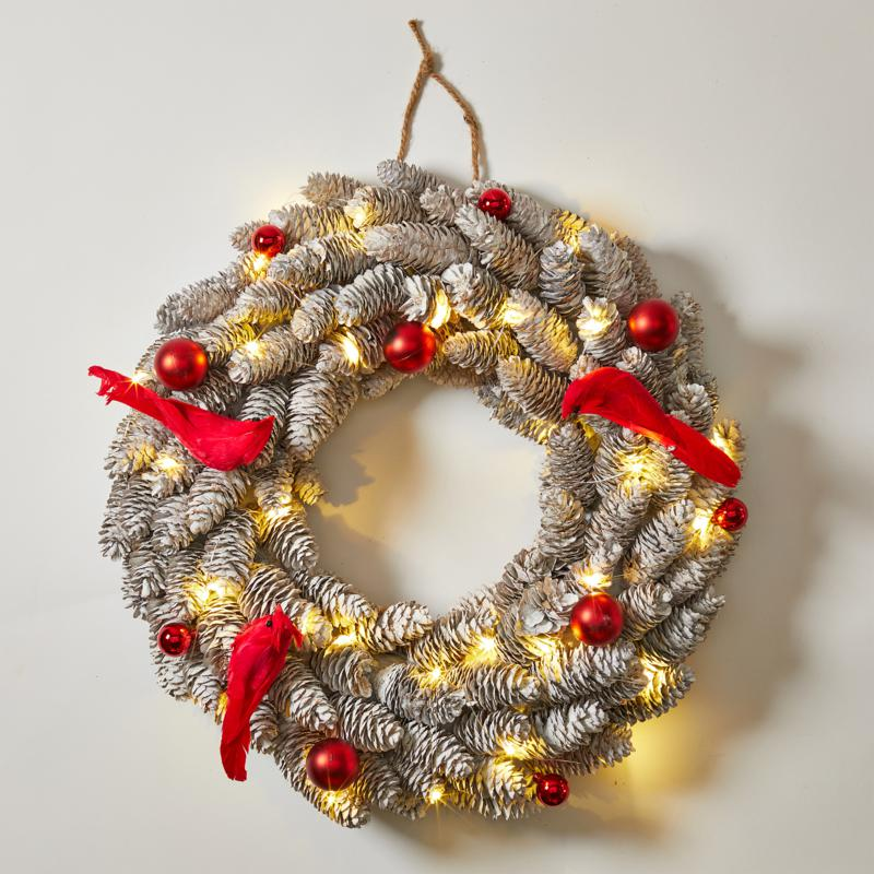 """""""As Is"""" August & Leo 18.8"""" Pinecone and Red Cardinal 30-LED Wreath ..."""